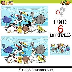 jeu, différences, oiseaux