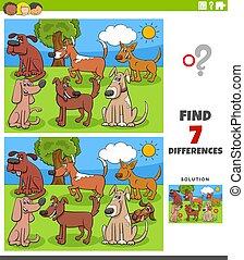 jeu, différences, pédagogique, gosses, chiens