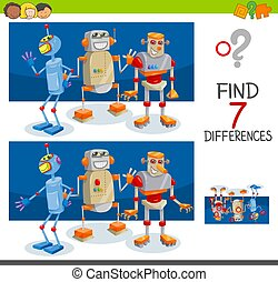 jeu, différences, robot, caractères