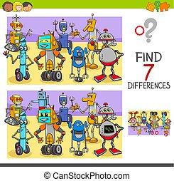 jeu, différences, robot, caractères, trouver