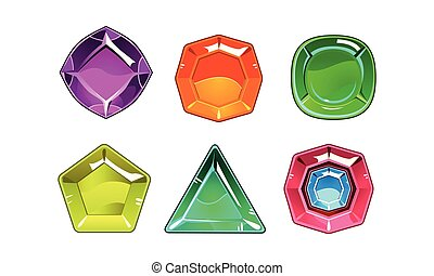 jeu, différent, ensemble, biens, gemstones, shapes., valable, vecteur, 6, stones., brillant, dessin animé