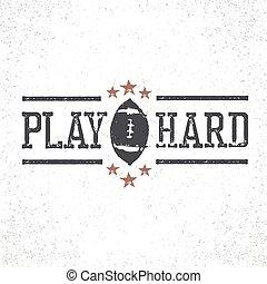 jeu, dur, timbre, football, illustration, américain