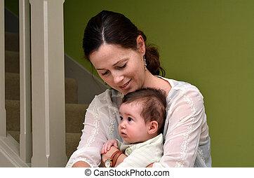 jeu, elle, jeune, mère, bébé, maison