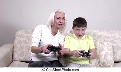 jeu, enfant, vidéo, jouer, mère