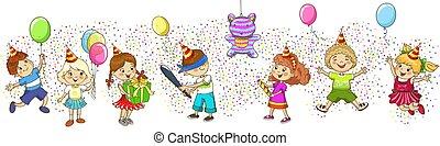 jeu, enfants, gosses, pinata., celebration., partie., anniversaire
