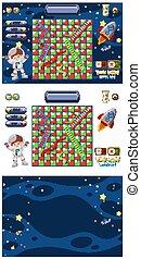 jeu, ensemble, astronaute, vaisseau spatial, espace
