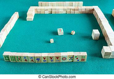 jeu, ensemble, début, player's, mahjong