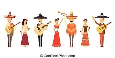 jeu, entiers, groupe, gens, instruments, traditionnel, longueur, musique, usure, mexicain, vêtements