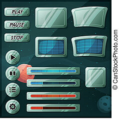 jeu, espace, ui, scifi, icônes