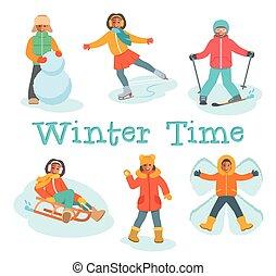 jeu, extérieur, hiver, neige, gosses, jeux, africaine