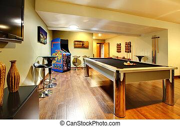 jeu, fête, salle, intérieur maison, à, piscine, table.