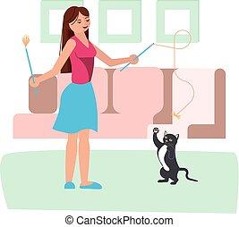 jeu, femme, elle, jeune, chat, noir
