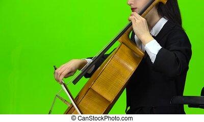 jeu, femme, screen., haut, cello., vert, fin, vue., côté