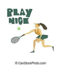 jeu, femme, texte, joueur tennis, balle, raquette, freehand, girl, gentil