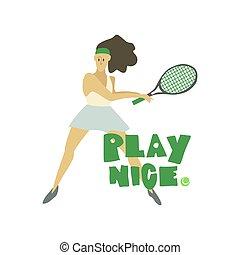 jeu, femme, texte, joueur tennis, raquette, freehand, girl, gentil