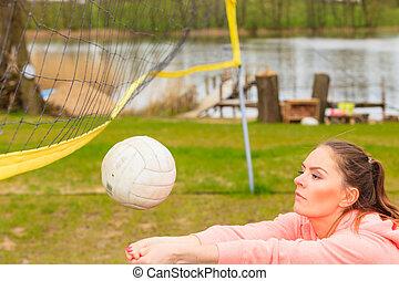 jeu, femme, voleyball