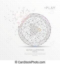 jeu, fil, digitalement, frame., poly, forme, bas, dessiné, icône