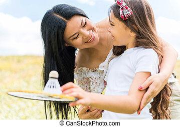 jeu, fille, parent, tennis, gai, enseignement
