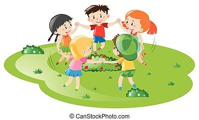 jeu filles, parc, jouer, garçons