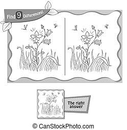 jeu, fleurir, différences, fleur