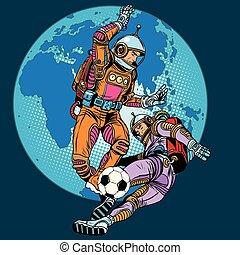 jeu, football, astronautes, égal football
