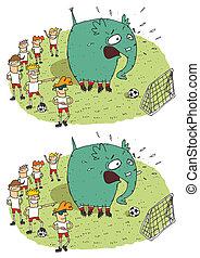 jeu football, différences, visuel, éléphant