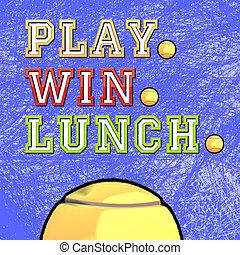 jeu, gagner, déjeuner, tennis