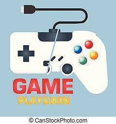 jeu, &, gagner, image, contrôleur jeu, vecteur, fond