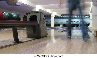 jeu, gens, défaillance, bowling, club, temps