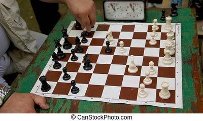 jeu, gens, limite, closeup, échecs, calendrier, vue