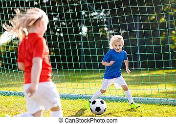 jeu, gosses, football., field., enfant, football