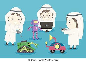 jeu, gosses, musulman, robots, illustration, garçons