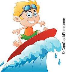 jeu, gosses, planche surf, surfer