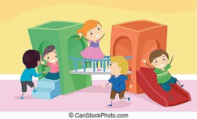 jeu, gosses, stickman, intérieur, illustration, terrestre