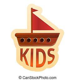 jeu, gosses, style, bois, bateau, dessin animé, logo
