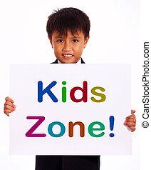 jeu, gosses, zone, secteur, signe, enfants, spectacles