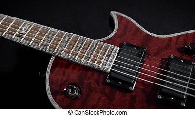 jeu, guitare, musique instrument, rocher, électro, rouges