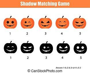 jeu, halloween, thème, potirons, ombre, assorti