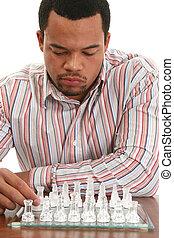 jeu, homme, jeu, échecs