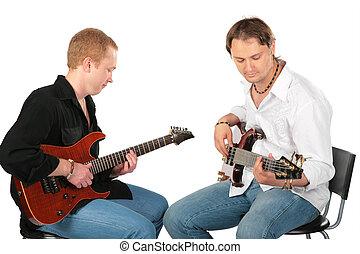 jeu, hommes, deux, guitares, séance