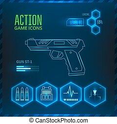 jeu, icône, arme