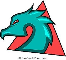 jeu, illustration, dragon, vecteur, fond, logo, blanc