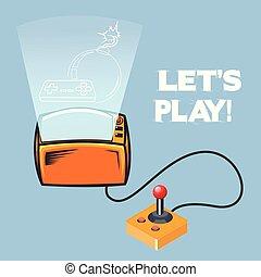 jeu, image, laissons, jeu, vecteur, vidéo, retro, manche balai