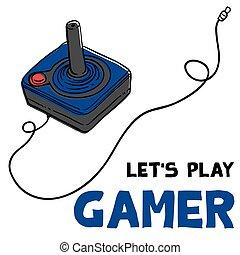 jeu, image, laissons, vecteur, gamer, fond, manche balai