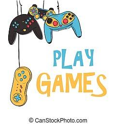 jeu, image, vecteur, jeux, fond, pendre, manche balai