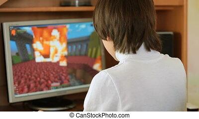 jeu, informatique, enfant joue, bureau