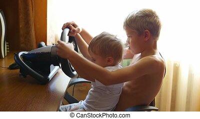 jeu, informatique, enfants jouer