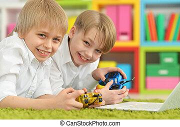 jeu, informatique, frères, jouer