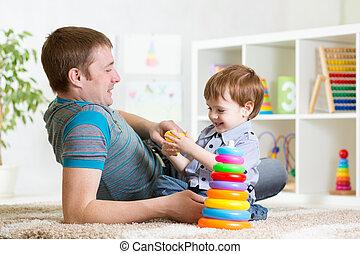 jeu, intérieur, père, ensemble, fils, enfant, maison, ...