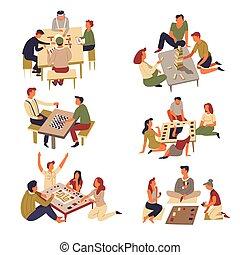 jeu, jeux domino, échecs, cartes, table, jenga